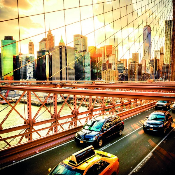 New York City, Brooklyn Bridge skyline