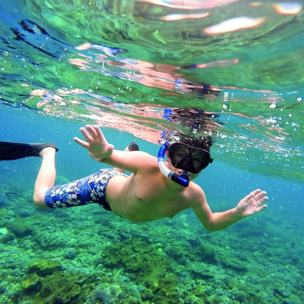 Underwater shoot of a young boy snorkeling