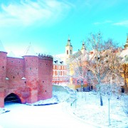Warsaw Barbacan fortress (castle) in winter is in the capital ci